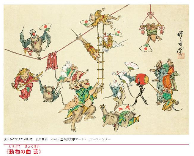 河鍋暁斎「動物の曲芸」