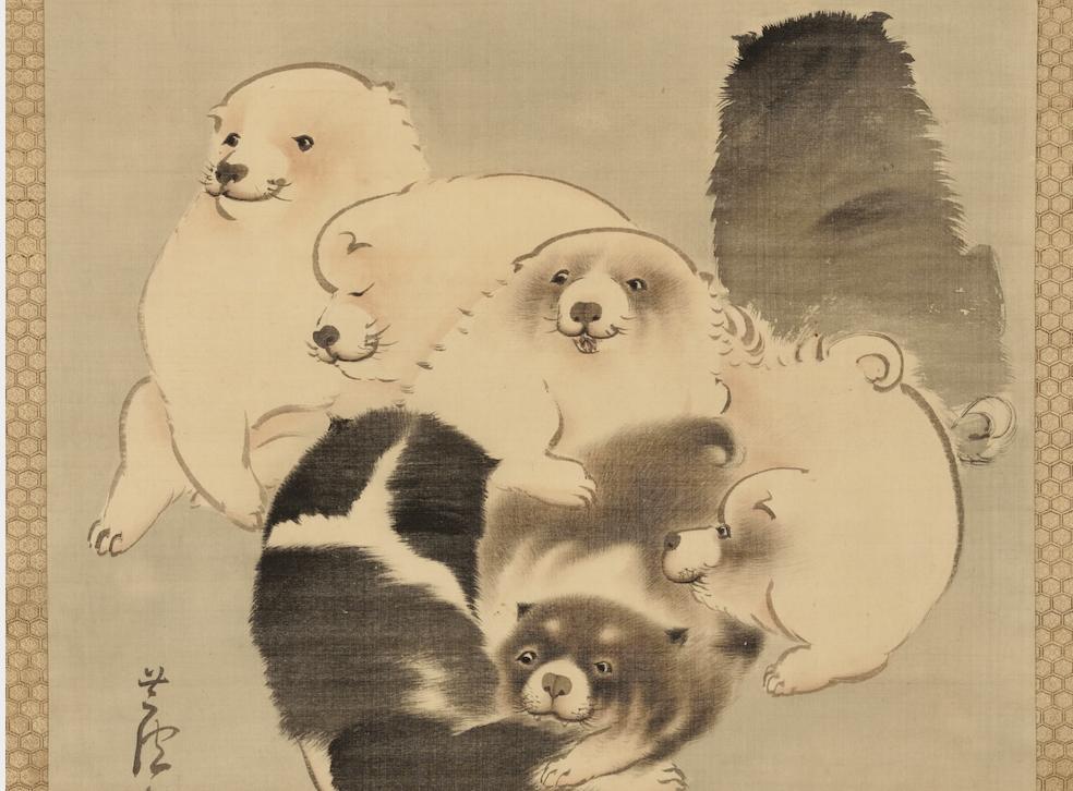 へそまがり日本美術展 長澤芦雪「菊花子犬図」